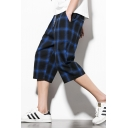 New Trendy Check Printed Mens Fashion Drawstring Waist Relaxed Fit Beach Shorts