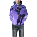 Cool Game Figure 3D Print Long Sleeve Unisex Relaxed Hoodie in Purple