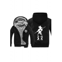 3D Comic Character Printed Long Sleeve Warm Thick Casual Zip Up Hoodie