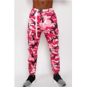 Guys Cool Unique Buckle Belted Waist Classic Fashion Camo Print Fitness Cotton Athletic Pants