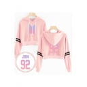 Fashion Striped Long Sleeve Loose Casual Cropped Pullover Hoodie