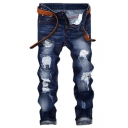 Mens Popular Cool Distressed Stylish Slim Ripped Jeans