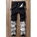 Men's Retro Bleach Wash Fashion Colorblocked Zipper Cuff Regular Fit Ripped Denim Jeans