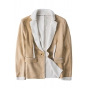 Fashionable Men's Notched Lapel Collar Single Button Cut-Off Lamb Fur Suede Composite Plain Suit Jacket