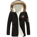 Fur-Trimmed Hooded Concealed Zip Closure with Press-Stud Placket Patched Thick Warm Drawstring Waist Cotton and Padded Parka Coat