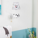 Elephant Wall Light Children Room Fabric Shade Single Light Sconce Lighting with Pull Chain in White