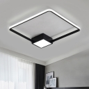 Acrylic Square Ring LED Lighting Fixture Simplicity Ultra Thin Ceiling Flush Mount in Black/White