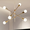Linear Restaurant Lighting with Open Bulb Minimalist Modern Metal 2/4/6 Lights Chandelier in Gold