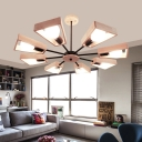 Fan Shape Chandelier Lamp with Wooden Frame Stylish Vintage 3/5/8 Lights Hanging Light in Black