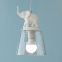 White Elephant Hanging Lamp with Cone Shade Clear Glass Single Head Pendant Lamp for Nursing Room