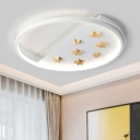 Nordic Modern Looped Indoor Lighting with Star Decoration Living Room Acrylic LED Flush Mount in White