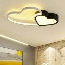 Bedroom Loving Heart Flush Light with Acrylic Shade Energy Saving LED Lighting Fixture in Black White
