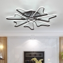 Acrylic Semi Flush Light with Loving Heart Brown Decorative LED Ceiling Lamp for Coffee Shop