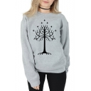 Unique Tree Printed Basic Crewneck Long Sleeve Cotton Pullover Sweatshirt