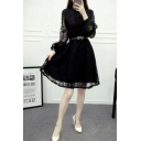 New Stylish Lantern Sleeve Mini A-Line Flared Lace Dress with Belt