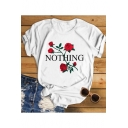 Simple Letter NOTHING Floral Printed Short Sleeve Round Neck Casual T-Shirt