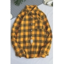 Fashion Classic Plaid Printed Long Sleeve Casual Loose Button-Down Shirt