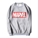 Marvel Fashion Printed Round Neck Long Sleeve Loose Relaxed Pullover Sweatshirt
