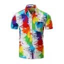 Men's Cool Unique Colorful Paint Short Sleeve White Beach Shirt