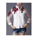 Chic Floral Embroidered Sheer Mesh Panel Long Sleeve Button Down Shirt