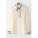 Bow Tie Stand Up Collar Long Sleeve Button Down Pleated Chiffon Blouse