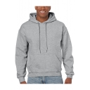Men's Basic Solid Long Sleeve Winter's Warm Thick Box Hoodie with Kangaroo Pocket