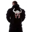 Men's Outdoor Sports Bodybuilding Breathable Fashion Bull Printed Back Casual Black Hoodie