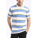 Mens Summer Comfort Cotton Fashion Stripe Pattern Short Sleeve Sport Casual Blue Polo Shirt
