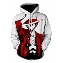 Trendy 3D Comic with a Hat Printed White Long Sleeve Sport Hoodie