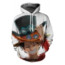 Funny 3D Comic Character Pattern Long Sleeve Relaxed White Hoodie