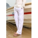 Mens Comfort Linen Basic Simple Plain Drawstring-Waist Loose Straight-Leg Pants