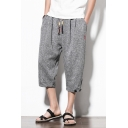 Guys Summer Fashion Heather Color Drawstring-Waist Button Rolled-Cuff Loose Casual Capri Pants Harem Pants