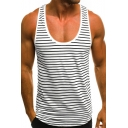 Summer Trendy Stripe Printed Scoop Neck Running Fitness Cotton Muscle Tank Top for Guys