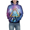 Purple Letter Positive Vibes 3D Galaxy Lunar Eclipse Printed Casual Drawstring Hoodie