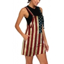 Womens Unique 3D Flag Checkerboard Printed Loose Fit Overalls Rompers