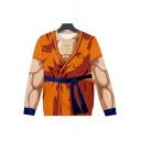 3D Muscle Printed Long Sleeve Round Neck Pullover Khaki Sweatshirt