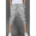 Mens Summer New Trendy Simple Plain Drawstring-Waist Loose Sport Joggers Cropped Sweatpants