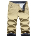 Guys New Stylish Polka-Dot Patched Slim Fit Cotton Cropped Chinos Pants