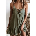 Summer Womens New Fashion Lace-Up Front Chic Ruffle Hem Simple Plain Mini Slip Dress