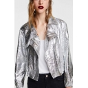 Metal Color Cracked Leather Notched Lapel Collar Long Sleeve Crop Jacket