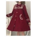Cute Contrast Trim Bow Embellished Single Breasted Long Sleeve Navy Collar Burgundy Lolita Woolen Coat