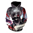 3D Comic Character Printed Long Sleeve Casual Sport Drawstring Hoodie
