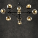 10 Lights Globe Chandelier Contemporary Pendant Light in Black with Glass Shade