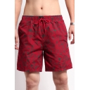 Quick Dry Men's Floral Print Casual Loose Drawcord Beach Swimwear Shorts