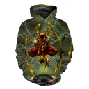 New Stylish 3D Figure Print Cosplay Costume Green Hoodie