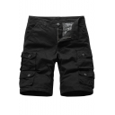 Men's Summer New Trendy Four-Pocket Cotton Casual Solid Color Cargo Shorts