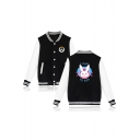 Overwatch Rabbit Pattern Stand-Collar Long Sleeve Colorblocked Unisex Button-Down Baseball Jacket