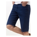 Mens Summer Cotton Simple Plain Fashion Button Pocket Fitted Casual Shorts
