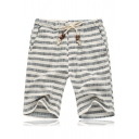 Men's Summer Stylish Stripe Printed Drawstring Waist Cotton Loose Beach Shorts