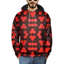 Cool 3D Black and Red Honeycomb Print Loose Relaxed Pullover Hoodie